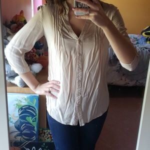 Forever 21 Tan Button Down Top